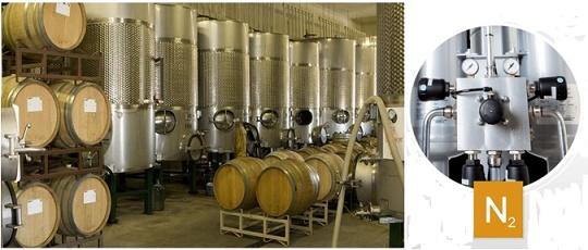 Азот для барботирования, розлива и укупорки вин.  Генератор азота для винодельни